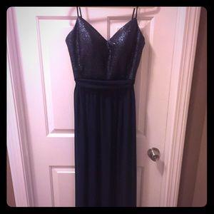 Navy Bari Jay bridesmaid dress, size 10. Worn once